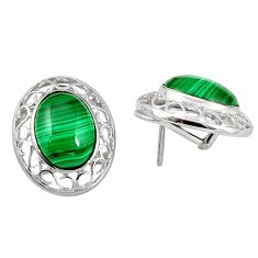 Clearance Sale- Natural green malachite (pilot's stone) 925 silver stud earrings d5562