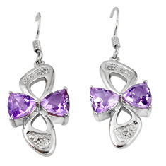 Clearance Sale- Natural diamond purple amethyst 925 silver dangle earrings jewelry d5567