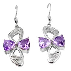 Clearance Sale- 925 sterling silver natural purple amethyst dangle earrings jewelry d5568