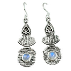 Clearance Sale- ver natural rainbow moonstone earrings jewelry d6353