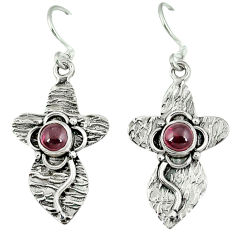 Clearance Sale- ver natural red garnet dangle earrings jewelry d6364