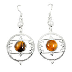 Clearance Sale- Natural brown tiger's eye white pearl 925 silver dangle earrings jewelry d6439