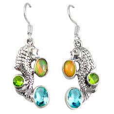 lor ethiopian opal peridot 925 silver fish earrings d6453