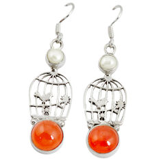 Clearance Sale- al orange cornelian (carnelian) dangle cage charm earrings d6505