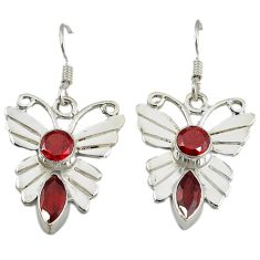 Clearance Sale- Natural red garnet 925 sterling silver butterfly earrings jewelry d6506