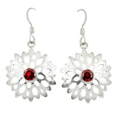 Clearance Sale- Natural red garnet 925 sterling silver dangle earrings jewelry d6512