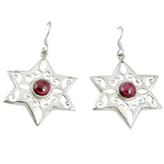 Clearance Sale- Natural red garnet 925 sterling silver dangle earrings jewelry d6527