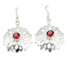 Clearance Sale- ver natural red garnet round dangle earrings jewelry d6552