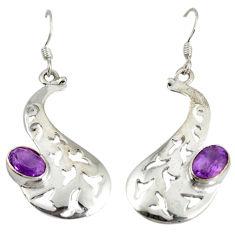 925 sterling silver natural purple amethyst dangle earrings jewelry d6593