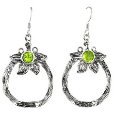 Clearance Sale- Natural green peridot 925 sterling silver dangle earrings jewelry d6609