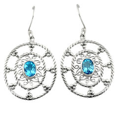 Clearance Sale- Natural blue topaz 925 sterling silver dangle earrings jewelry d6613
