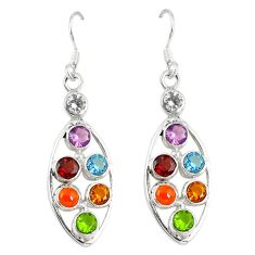 Natural purple amethyst citrine garnet topaz 925 silver chakra earrings d6638