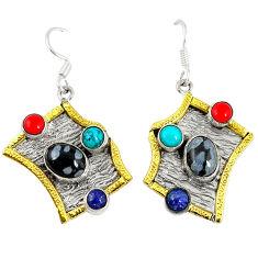 Clearance Sale- n 925 silver gold two tone dangle earrings d6675