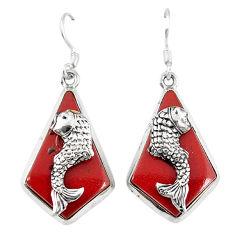 Clearance Sale- erling silver fish charm earrings jewelry d6721