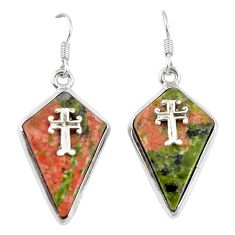 Natural green unakite 925 sterling silver holy cross earrings jewelry d6725
