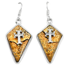 Clearance Sale- Natural brown picture jasper 925 silver holy cross earrings jewelry d6733