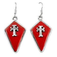 Clearance Sale- Red coral fancy 925 sterling silver holy cross earrings jewelry d6736