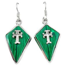 Clearance Sale- Natural green malachite (pilot's stone) 925 silver holy cross earrings d6737