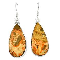 Natural red birds eye 925 sterling silver dangle earrings jewelry d6758