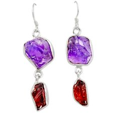 Natural purple amethyst rough garnet rough 925 silver dangle earrings d6779