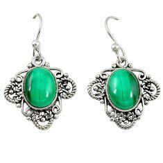 Natural green malachite (pilot's stone) 925 silver dangle earrings d6832