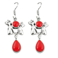 Red coral 925 sterling silver two cats earrings jewelry d6847