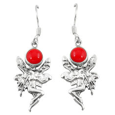 Clearance Sale- ver red coral angel wings fairy earrings jewelry d6850