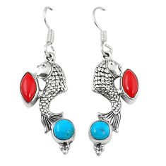 Clearance Sale- turquoise red coral fish earrings d6852