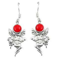 Clearance Sale- Red coral 925 sterling silver angel wings fairy earrings jewelry d6856