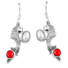 Clearance Sale- arl red coral 925 sterling silver fish earrings d6869