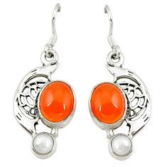 Clearance Sale- ornelian (carnelian) pearl 925 silver dangle earrings d6881