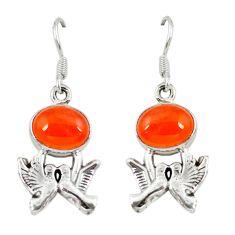 Clearance Sale- 925 silver natural orange cornelian (carnelian) love birds earrings d6889