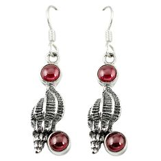 Clearance Sale- ver natural red garnet dangle earrings jewelry d6898