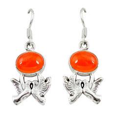 Clearance Sale- Natural orange cornelian (carnelian) 925 silver love birds earrings d6899