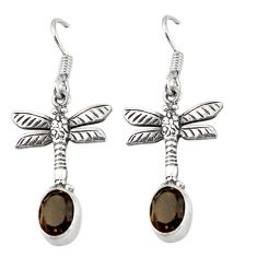 Clearance Sale- Brown smoky topaz 925 sterling silver dragonfly earrings jewelry d6903