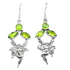 Clearance Sale- Natural green peridot 925 silver angel wings fairy earrings jewelry d6919