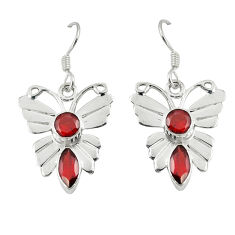 Clearance Sale- Natural red garnet 925 sterling silver butterfly earrings jewelry d6935