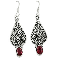 Clearance Sale- Natural red garnet 925 sterling silver dangle earrings jewelry d6954