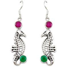 Clearance Sale- 925 sterling silver green emerald ruby quartz dangle earrings jewelry d7014