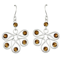 Clearance Sale- ver brown smoky topaz dangle earrings jewelry d7044