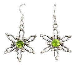 Clearance Sale- Natural green peridot 925 sterling silver dangle earrings jewelry d7049