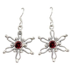 Clearance Sale- Natural red garnet 925 sterling silver dangle earrings jewelry d7051