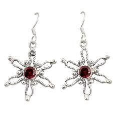 Natural red garnet 925 sterling silver dangle earrings jewelry d7051