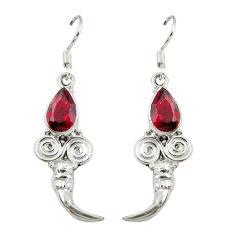 Clearance Sale- 925 sterling silver red garnet quartz dangle earrings jewelry d7064