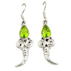 Clearance Sale- Green peridot quartz 925 sterling silver dangle earrings jewelry d7070