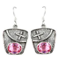 Clearance Sale- ver pink kunzite (lab) dangle earrings jewelry d7085