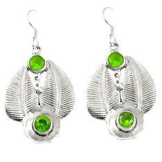 Clearance Sale- 925 sterling silver green peridot quartz dangle earrings jewelry d7119