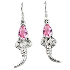 Clearance Sale- ver pink kunzite (lab) dangle earrings jewelry d7151