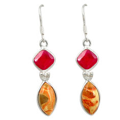 Clearance Sale- 925 silver natural red birds eye ruby quartz dangle earrings jewelry d7184