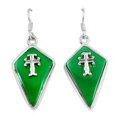 Clearance Sale- Natural green chalcedony 925 sterling silver holy cross earrings d7187